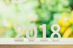 Nieuwjaarconcept voor 2018: Houten nummer 2018 op houten lijstbovenkant Royalty-vrije Stock Fotografie
