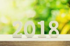Nieuwjaarconcept voor 2018: Houten nummer 2018 op houten lijstbovenkant Royalty-vrije Stock Foto