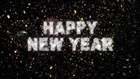 Nieuwjaarconfettien en Vuurwerklijn stock footage