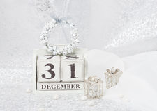 Nieuwjaardatum op Kalender 31 december Kerstmis Royalty-vrije Stock Fotografie