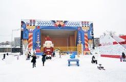 Nieuwjaardecoratie in het park van Gorky in Moskou Stock Fotografie