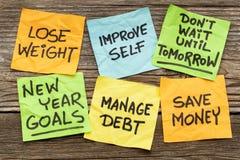 Nieuwjaardoelstellingen of resoluties Royalty-vrije Stock Afbeelding