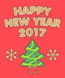Nieuwjaargroeten en peperkoekkerstboom Royalty-vrije Stock Foto's