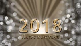 Nieuwjaarillustratie met gouden 2018 en Gelukkige Nieuwjaartekst op gouden, zilveren achtergrond stock illustratie