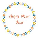 Nieuwjaarinschrijving en sterren van blauwe en rode geschilderde watercol Stock Foto