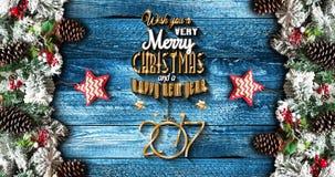 2017 nieuwjaarkader met groene pijnboom, kleurrijke snuisterijen en sterren Royalty-vrije Stock Afbeelding