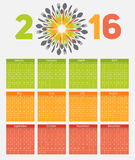 Nieuwjaarkalender 2016 op Abstracte Mobiele Telefoon Royalty-vrije Stock Foto's