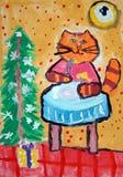 Nieuwjaarkat - gouache schilderen gemaakt door kind vector illustratie