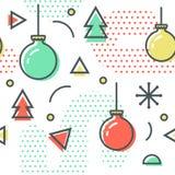 Nieuwjaarkerstmis Memphis Seamless Pattern royalty-vrije illustratie