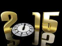 2015 nieuwjaarklok Stock Fotografie