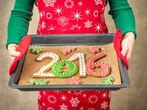 2016 nieuwjaarkoekjes Stock Foto's
