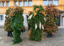 Nieuwjaarmummers ( Silvesterchlausen) in Urnasch, Appenzell Royalty-vrije Stock Foto