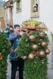 Nieuwjaarmummers ( Silvesterchlausen) in Urnasch, Appenzell Stock Afbeeldingen