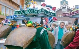 Nieuwjaarmummers ( Silvesterchlausen) in Urnasch, Appenzell Stock Foto