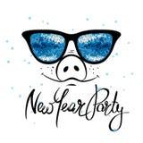 Nieuwjaarpartij, het varken van Fanny stock illustratie