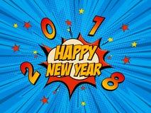 Nieuwjaarpop-art Vector Illustratie