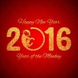 Nieuwjaarprentbriefkaar met gouden teksten, jaar van de aap, jaar 2016 ontwerp Stock Foto