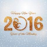 Nieuwjaarprentbriefkaar met gouden teksten, jaar van de aap, jaar 2016 ontwerp, vectorillustratie Royalty-vrije Stock Afbeelding