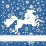 Nieuwjaarprentbriefkaar met paard Royalty-vrije Stock Fotografie