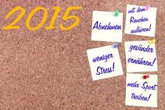 Nieuwjaarresoluties het Duits Stock Afbeeldingen