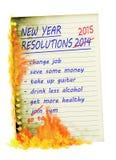 Nieuwjaarresoluties 2015 omhoog in gebrande rook, Royalty-vrije Stock Fotografie