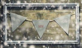 Nieuwjaarsamenstelling met decoratie oud kader Stock Foto