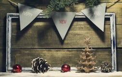 Nieuwjaarsamenstelling met decoratie oud kader Royalty-vrije Stock Fotografie