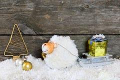 Nieuwjaarsamenstelling met een schaap - een symbool van 2015 op het oosten cal Royalty-vrije Stock Foto's