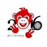 2016 Nieuwjaarskaart of achtergrond met aap Royalty-vrije Stock Foto's