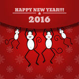 Nieuwjaarskaart met Aapfamilie voor jaar 2016 eps 10 Royalty-vrije Stock Afbeeldingen