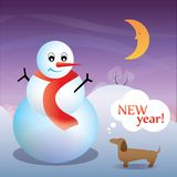Nieuwjaarskaart met een hond en een sneeuwman Royalty-vrije Stock Afbeelding