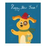 Nieuwjaarskaart met hond Royalty-vrije Stock Afbeeldingen