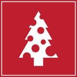 Nieuwjaarskaart met witte Kerstboom Royalty-vrije Stock Fotografie