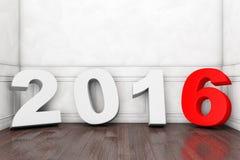 2016 nieuwjaarteken in Lege Zaal Royalty-vrije Stock Afbeeldingen