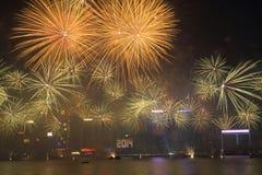 Nieuwjaarviering in Hong Kong 2014 Stock Afbeelding