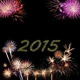 2015 nieuwjaarvuurwerk Stock Afbeeldingen
