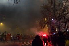 2015 nieuwjaarvuurwerk en vieringen bij het vierkant van Wenceslas, Praag Royalty-vrije Stock Foto