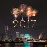 2017 nieuwjaarvuurwerk over jachthavenbaai in Yokohama-Stad, Japan Royalty-vrije Stock Afbeeldingen