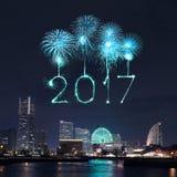 2017 nieuwjaarvuurwerk over jachthavenbaai in Yokohama-Stad, Japan Royalty-vrije Stock Fotografie