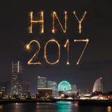 2017 nieuwjaarvuurwerk over jachthavenbaai in Yokohama-Stad, Japan Stock Foto's