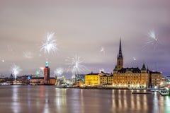Nieuwjaarvuurwerk 2016 in Stockholm Stock Afbeelding