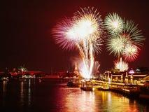 Nieuwjaarvuurwerk Thailand Stock Foto