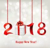 2018 nieuwjaren achtergrond met gift stock illustratie