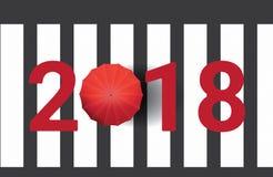 2018 nieuwjaren die alleen op Zebrapad met Rode Parapluillustratie lopen Als achtergrond Stock Fotografie