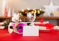 Nieuwjaren dinerlijst het plaatsen Royalty-vrije Stock Afbeeldingen