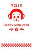 Nieuwjaren kaart 2016, jaar van de aap Royalty-vrije Stock Foto