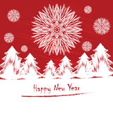 Nieuwjaren kaart of uitnodiging met sneeuwvlokken Vector Illustratio Royalty-vrije Stock Afbeelding