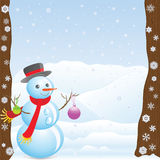 Nieuwjaren sneeuwman onder bomen Stock Foto's