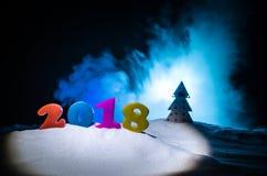 Nieuwjaren van de Achtergrond vooravondviering met nieuwe jaarelementen of symbolen Decoratie voor groetkaart Gelukkig Nieuwjaar  Stock Fotografie