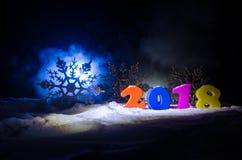 Nieuwjaren van de Achtergrond vooravondviering met nieuwe jaarelementen of symbolen Decoratie voor groetkaart Gelukkig Nieuwjaar  Royalty-vrije Stock Foto's